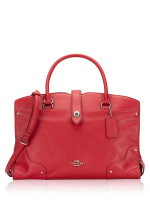 COACH 37167 Mercer Grain Leather Satchel True Red