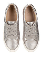 TORY BURCH Marion Quilted Lace Up Sneaker Silver Sz 6