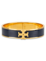 TORY BURCH Raised Logo Enamel Hinged Bracelet Navy Gold
