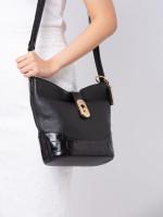 COACH 72808 Amber Croco Leather Duffle Black