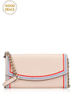 KATE SPADE Eva Embroidered Wallet On A Chain Warm Beige Blue Dawn