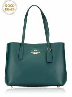 COACH 48734 Metallic Leather Avenue Carryall Sea Green