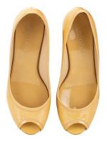 JIMMY CHOO Purdey Peep Toe Patent Wedges Nude Sz 35.5