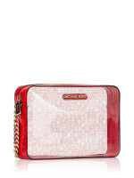 MICHAEL KORS Jet Set Logo Clear And Patent Leather Crossbody Red