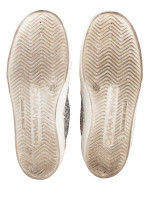 CHIARA FERRAGNI Glitter Eyes Slip On Sneakers Silver Sz 37