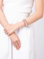 VALENTINO Rockstud Crystal Studded Leather Cuff Pink