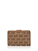 MICHAEL KORS Jet Set Signature Bifold Zip Coin Wallet Beige Ebony