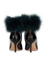 JIMMY CHOO Tesler Fox Fur-Trimmed Ankle Boots Black Sz 36