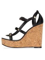 JIMMY CHOO Nerissa Wedges sandal Black Sz 36