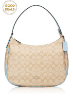 COACH 29209 Signature Zip Shoulder Bag Light Khaki Powder Blue