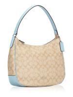 COACH 29209 Signature Zip Shoulder Bag Light Khaki Powder Blue