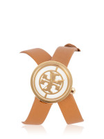 TORY BURCH TBW4018 Reva Leather Double Wrap Watch Luggage Gold