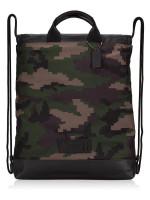 COACH Men 72926 Pixel Camo Terrain Drawstring Backpack Dark Green multi
