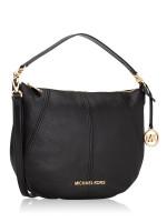 MICHAEL KORS Bedford Leather Medium Crescent Shoulder Bag Black