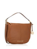 MICHAEL KORS Bedford Leather Medium Crescent Shoulder Bag Luggage