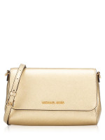 MICHAEL KORS Jet Set Convertible Pouchette Crossbody Pale Gold