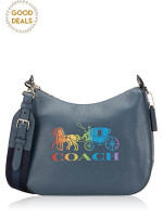 COACH 76766 Leather Rainbow Glitter Jes Hobo Denim Multi