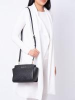 MICHAEL KORS Selma Embossed Leather Medium Messenger Black