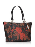 COACH 76683 Thorn Roses Print Ava Tote Black Red Multi