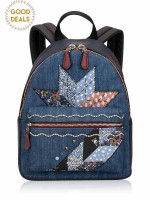 COACH 39917 Star Patch Mini Charlie Backpack Denim Multi
