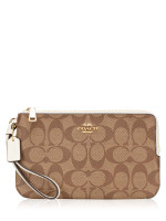 COACH 16109 Signature Double Zip Wallet Khaki Chalk