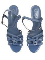 TOD'S Patent Leather Sandals Heels Blue Sz 38.5