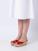 JIMMY CHOO Paisley Patent Leather Wedges Sandals Red Sz 39