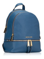MICHAEL KORS Rhea Leather Zip Medium Backpack Dark Chambray