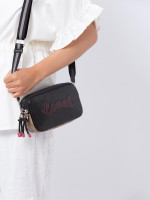 COACH 77682 Vale Signature & Leather Crossbody Pouch Khaki Black Multi