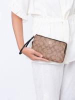 COACH 16109 Signature Double Zip Wallet Khaki Black