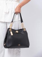COACH 36855 Turnlock Edie Shoulder Bag Black