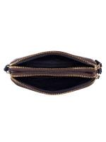 COACH 77996 Signature Double Zip Crossbody Pouch Brown Black