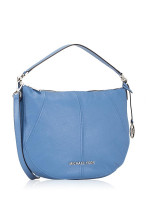 MICHAEL KORS Bedford Leather Medium Crescent Shoulder Bag French Blue