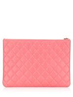 CHANEL Lambskin Large O Case Clutch Pink