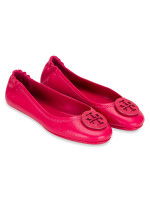 TORY BURCH Minnie Travel Leather Flats Dark Azalea Sz 7
