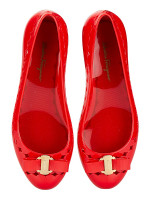 SALVATORE FERRAGAMO Vara Bow Jelly Ballet Flat Red Sz 8