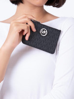 MICHAEL KORS Fulton Signature Small Zip ID Coin Pouch Black