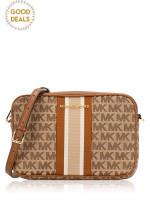 MICHAEL KORS Jet Set Stripe Monogram Large Crossbody Beige Ebony Luggage