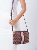 MICHAEL KORS Jet Set Stripe Monogram Large Crossbody Oxblood
