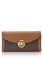 MICHAEL KORS Fulton Signature Large Flap Wallet Brown