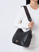 COACH 77980 Jes Leather Hobo Black