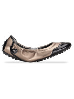 TOD'S Leather Ballet Flats Bronze Black Sz 37.5