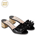 MIU MIU Crystal Embellished Patent Leather Sandal Black Sz 37