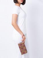 COACH 78116 Signature Tulip Print Double Zip Wristlet Khaki Pink Multi