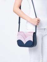 KATE SPADE Nadine Patchwork Medium Flap Shoulder Bag Petrol Blue Lavender Mist