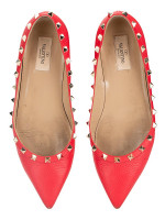 VALENTINO Rockstud Leather Flats Red Sz 40