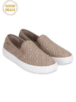 TORY BURCH Jesse Quilted Leather Slip On Sneakers French Gray Sz 8.5