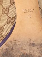 GUCCI GG Canvas Horsebit Peep-Toe Pump Beige Purple Sz 39