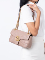 GUCCI GG Marmont Small Flap Bag Nude