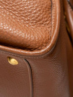 PRADA BL0805 Vitello Daino Leather Zip Brown